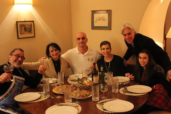 Enjoying a meal we just prepared with chef Vincenzo Clemente of Ristorante Cin Cin