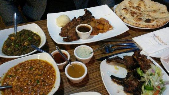MyLahore : Beef steak, lamb chops, naan, daal and palak paneer!