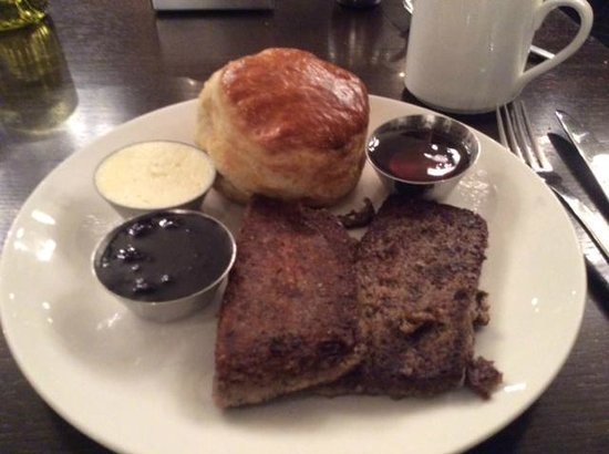 Art and Soul: Biscuit and scrapple. Expensive, unhealthy but very good.