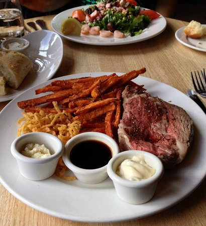 The Keg Steakhouse + Bar - Banff Caribou: Prime Ribs, sweet potatoes fries and lobster-shrimp salad