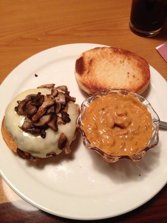 Grant, NE: The special burger that night was Swiss mushroom burger on a sourdough bun with amazing baked be