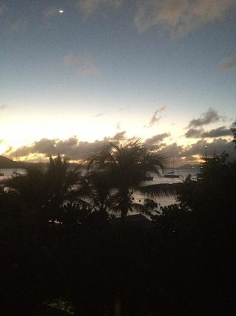 Cooper Island Beach Club: sunset from balcony of #7