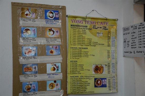 Yong Teng Cafe: Simple Menu