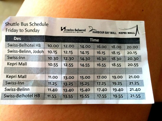 Swiss-Belhotel Harbour Bay: Bus Timing to Kepri Mall, hope it helps!