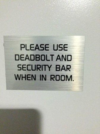 Aloft Miami Brickell: Oh Yeah - that makes me feel safe!!!
