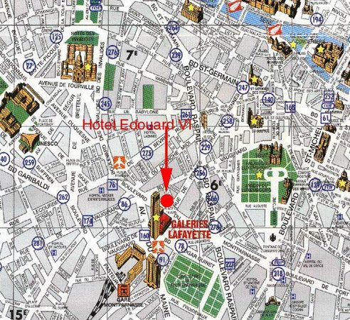 Area Map - Picture of Hotel Edouard VI, Paris - TripAdvisor Map Of Paris Hotels on