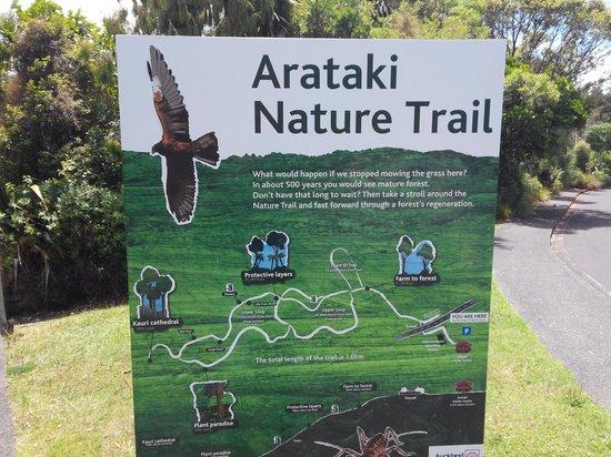 Arataki Visitor Centre: board