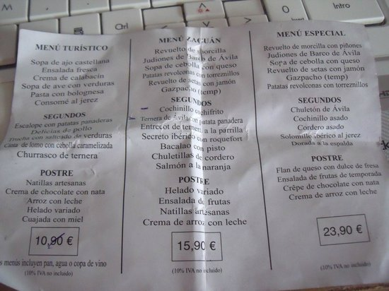 Zaguan: Los tres menus