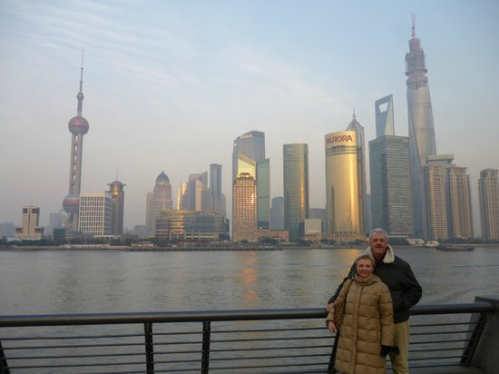Pudong Shangri-La, East Shanghai: Shangri-La Hotel is centre of the picture on waterfront