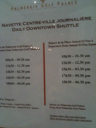 Palmeraie Palace: shuttle schedule going to the  city