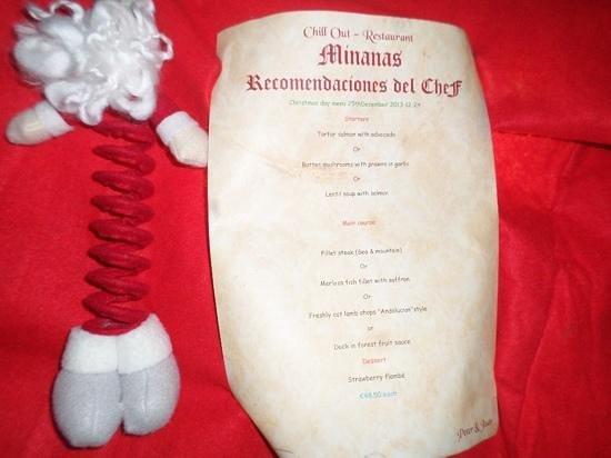 Minanas: The menu.