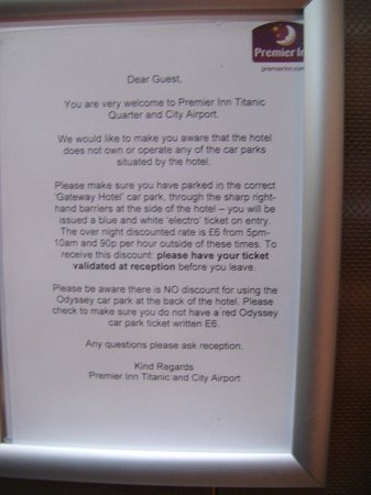Premier Inn Belfast Titanic Quarter Hotel: Parking rates