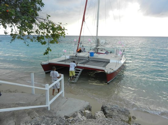 Mango Bay All Inclusive : Our wedding day catamaran pulling up