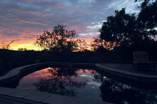 Madikwe Game Reserve, Sydafrika: African sunrise as seen from the pool deck