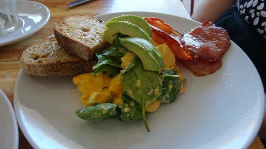 Milkbar: Scrambled eggs, bacon and avocado
