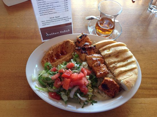 Sultan Kebab: Chicken Kebab lunch special & hot tea