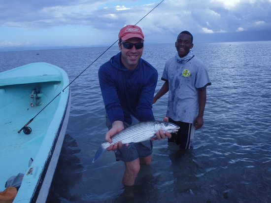 Jack Trout Fly Fishing: Robbie and I with a good bone that pulled well into the backing