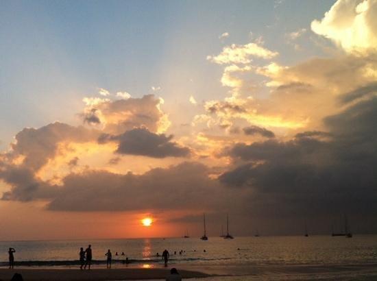 sunset in nai harn beach