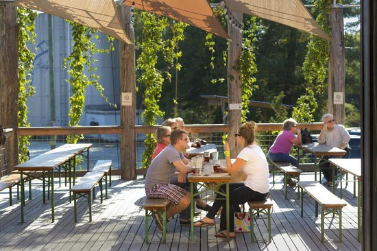 Highland Brewing Company: Our deck during the summertime.
