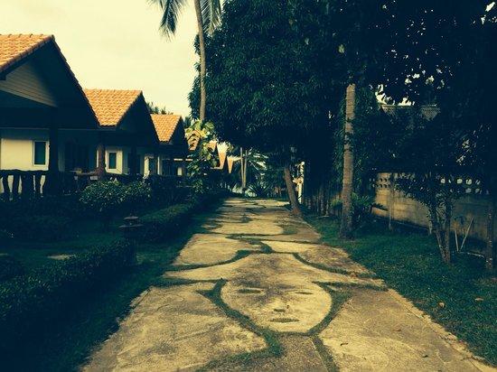 Shangri-La Bungalows: Allée qui mène à la  plage