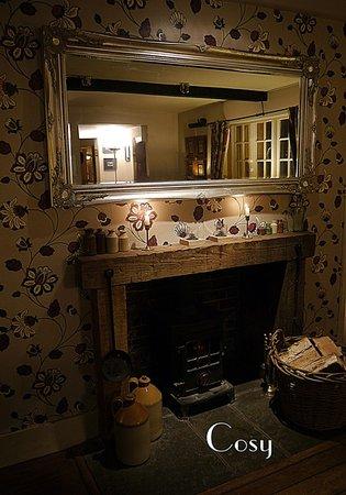 Langley Hall Inn: Bar side fire