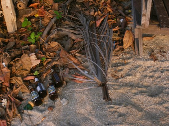 Samui Laguna Resort: Garbage & beer bottles in front of the Massage Center, not cleaned up for 7 days