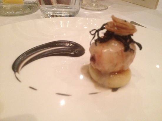 The Square : Sauté of scottish langoustine with parmesan gnocchi and a emulsion of potato and truffle.