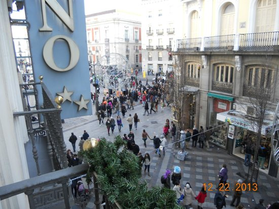 Calle del Arenal - view from our balcony at Hotel Moderno