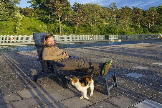 Snack Hotel Annex : Я с местным котиком на фоне бассейна