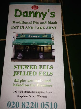 Danny's Pie and Mash: Menu