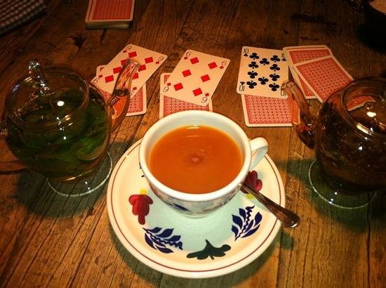 The Chequers: fresh mint tea and game of cards supplied by bar