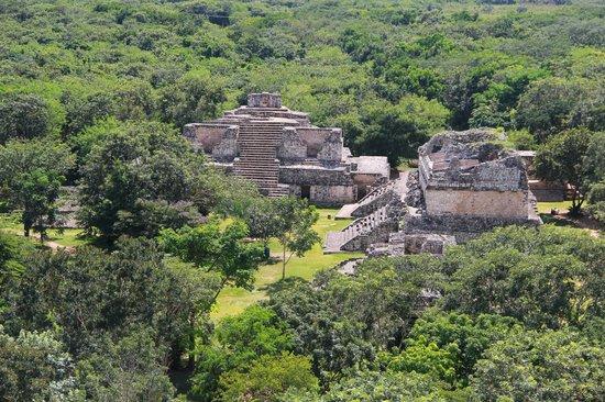 Ek Balam Mayan Ruins: the view fron the pyramid
