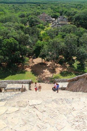 Ek Balam Mayan Ruins: climbing the main pyramid