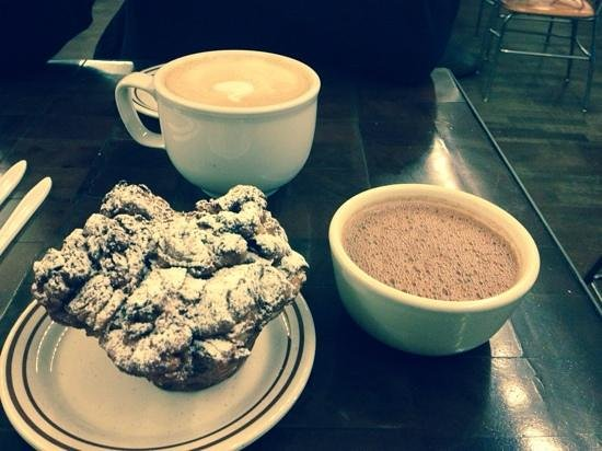 City Bakery : giant bakers muffin, regular hot chocolate and a huge coffee!
