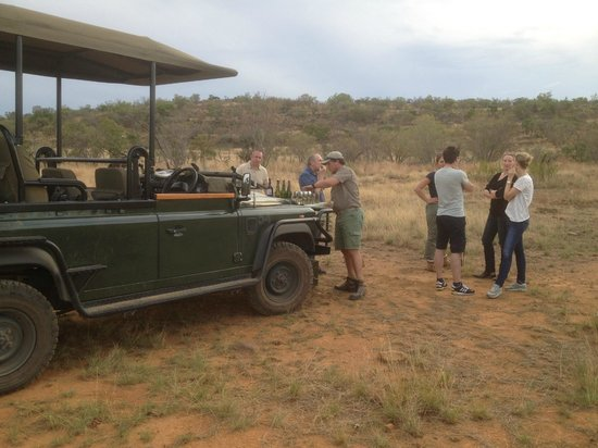 Nedile Lodge: Sunset drinks reception in the bush