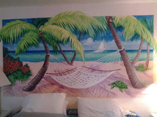 Magic Beach Motel: mural on wall over bed