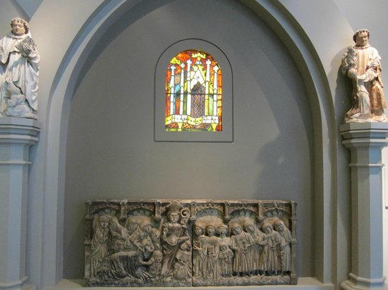 The Walters Art Museum: A stained glass window exhibit.