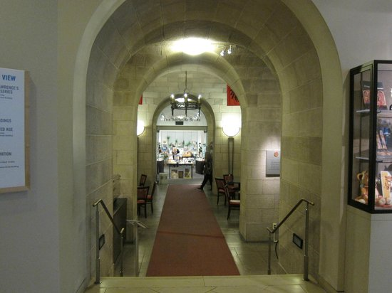 The Walters Art Museum: The Cafe Q entrance and the museum store toward the back.