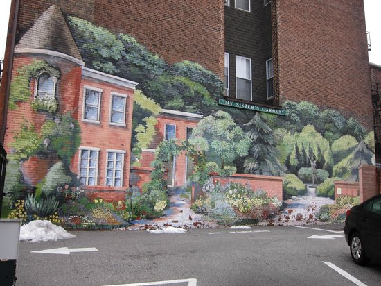 The Walters Art Museum: A mural on a wall of a parking lot across the street from the museum.