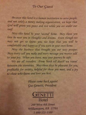 Genetti Hotel - Williamsport : The inspirational blessing that was on the pillow of the bed