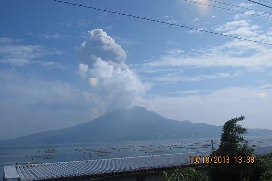 Sakurajima view along train ride to Kareigawa Station