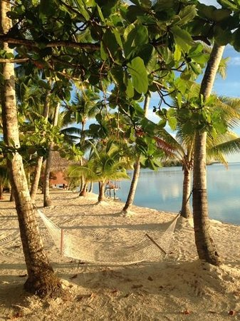 Aitutaki Lagoon Resort & Spa: the magnificent view from no 30. Deluxe Beachfront Bungalow