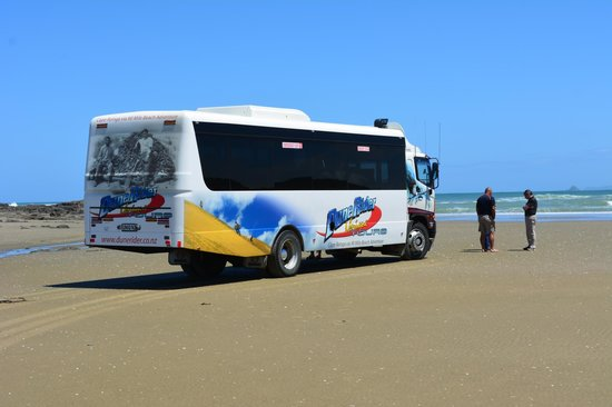 Explore - Dune Rider Cape Reinga: The bus on the 90 miles beach