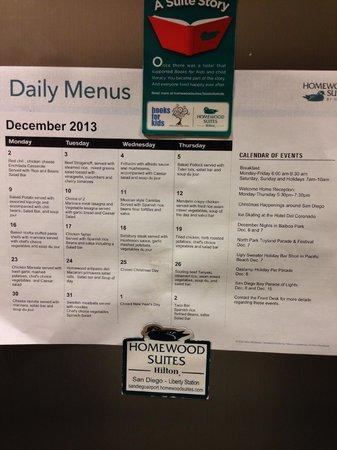 Homewood Suites by Hilton San Diego Airport - Liberty Station : Dinner Menus