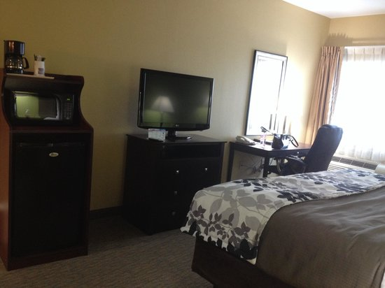 Sleep Inn & Suites: The room comes standard with a mini fridge (doesn't get very cold), microwave and coffee maker.