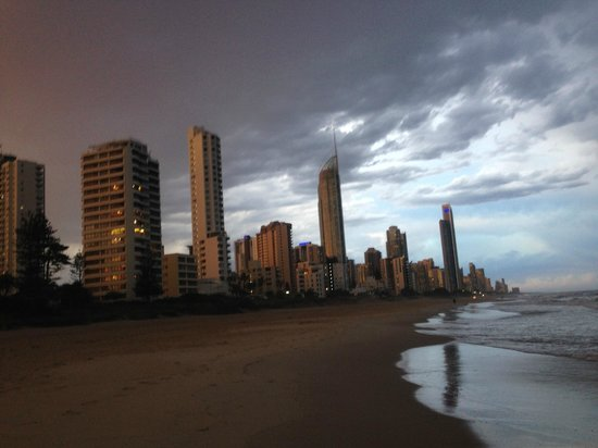 Surfer's Paradise Beach: Surfers at night