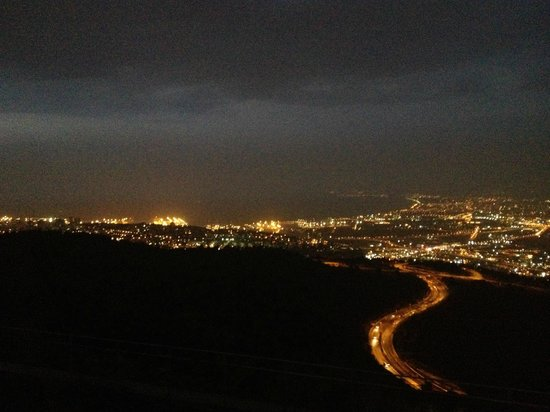 Night view of the Haifa Bay from Haifa University