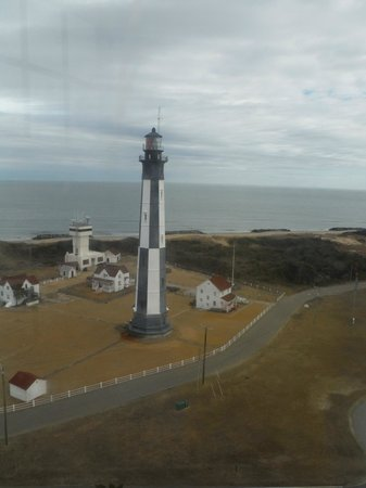 Cape Henry Lighthouse: New Lighthouse viewed from the top of the old light house