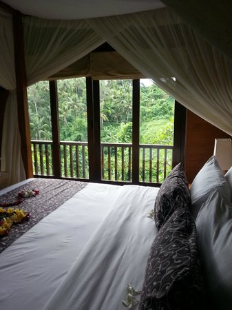 Natura Resort and Spa: Bed with full view of the forest