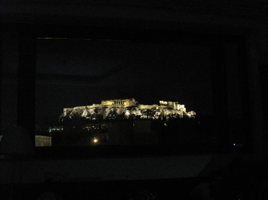 O&B Athens Boutique Hotel: A view out the window from our bed.